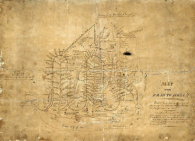 1858 Imaginary Map of the Road to Hell!! Wall Art Poster Print Vintage History