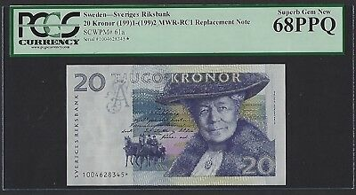 Sweden 1991-1992 P-61a PCGS Superb Gem New 68 PPQ 20 Kronor REPLACEMENT NOTE