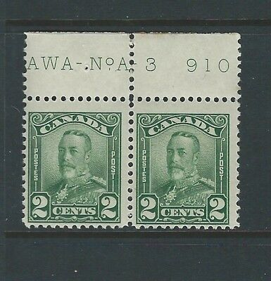CANADA - #150 - 2c KING GEORGE V SCROLL ISSUE PLATE A-3 MINT PAIR (1928)