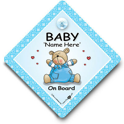 Personalised Baby on Board Sign, Blue Bear, Customised Baby on Board Car Sign