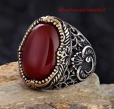 turkish 925 Sterling Silver  İslamic Red Agate Aqeeq Mens Mans ring ALL SİZE usa