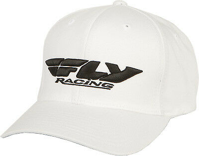 Fly Racing Casual Podium Hat White Flex Fit Curved Brim Baseball Cap