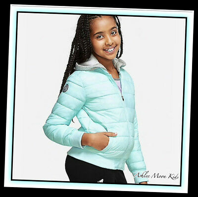 NWT JUSTICE Girls Azure Blue Packable Puffer Coat Jacket~Great for Backpacks!