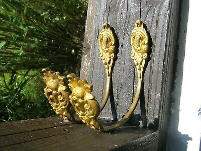 Pair of Antique French Bronze Curtain Tie Backs  / Wall Hooks