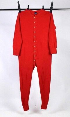 Vtg Duofold Wool Red Long Johns Thermal Underwear Union Suit Trap Door Mens L