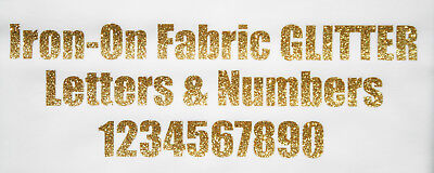 IRON-ON GLITTER LETTERS & Numbers GOLD + FREE Rhinestones Impact font  19-75mm