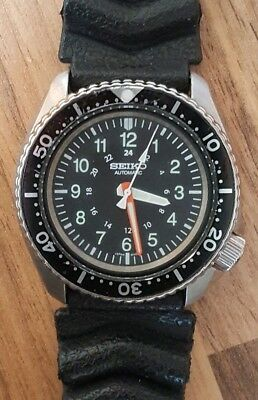 Vintage Seiko 6309 7290 Custom Mod 24HR Military Style Dial Diver Watch