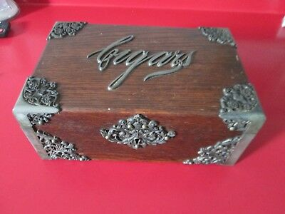 GREAT Antique ART NOUVEAU - ORNATE - OAK & SP - CIGAR HUMIDOR - Dated 1890