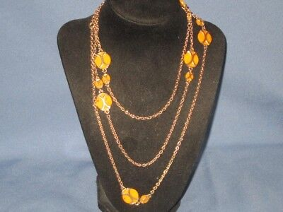 Vintage Gold-Tone Metal Speckled Yellow Lucite Chain Station Necklace