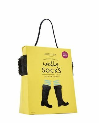 Joules Frida Fleece Welly Socks Faux Fur Top Size Fits 4-6 See Details RRP £24
