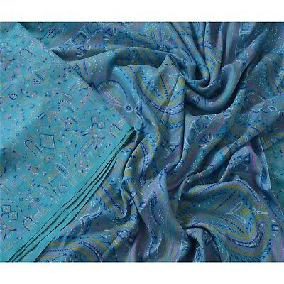Sanskriti Vintage Blue Saree 100% Pure Silk Printed 5 Yard Sari Craft Fabric