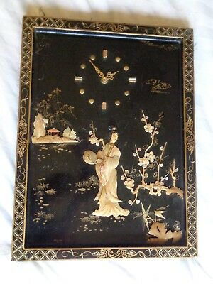 Antique Chinese Mother of Pearl Shell black lacquer wall clock art panels