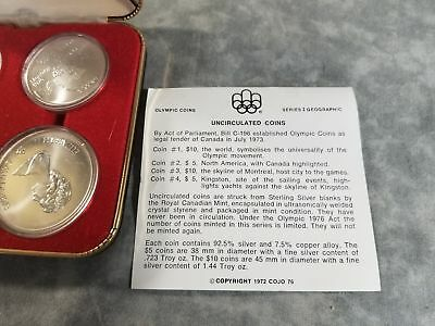 1976 CANADA Montreal Olympics XXI 4 Coin Silver BU Set Series I Geographic ~144g