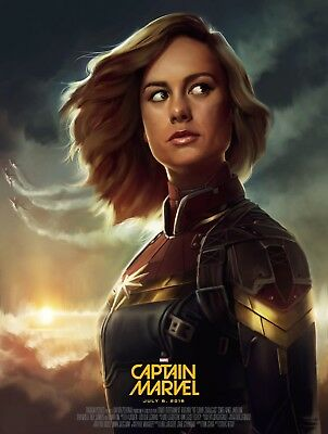 Captain Marvel - Comic Book 2019 Movie Art Large Poster / Canvas Pictures