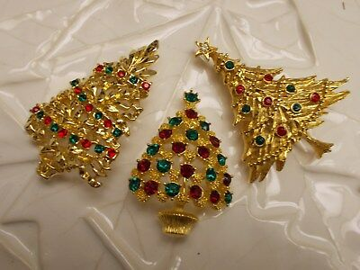 Vintage to Mod Christmas Tree RHINESTONE Pin Brooch Red, Green & Gold Lot of 3