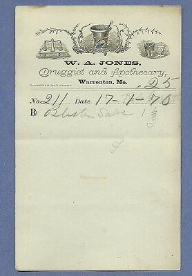 1870 WA Jones Druggist Apothecary Warrenton Missouri Prescription Receipt No 211