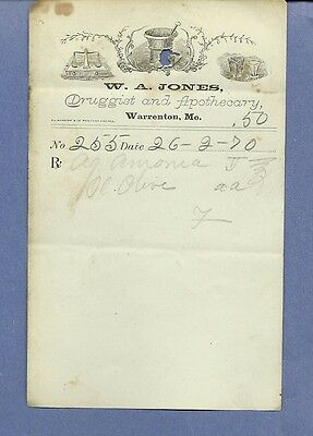 1870 WA Jones Druggist Apothecary Warrenton Missouri Prescription Receipt No 255