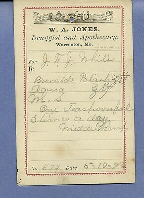 1872 WA Jones Druggist Apothecary Warrenton Missouri Prescription Receipt No 574