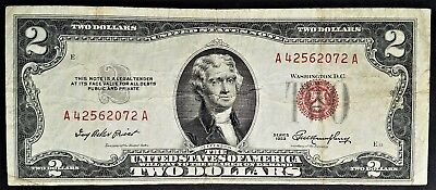 1953 Two Dollar Legal Tender United States Note $2 BillRed Seal  Free Shipping