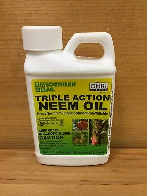 Southern Ag Triple Action Neem Oil 8 oz. Organic Insecticide Fungicide Miticide