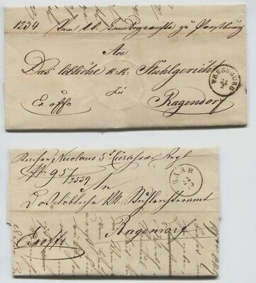 Stampless Covers, Raab, Essegg, Pressburg, Hannover All 1850's