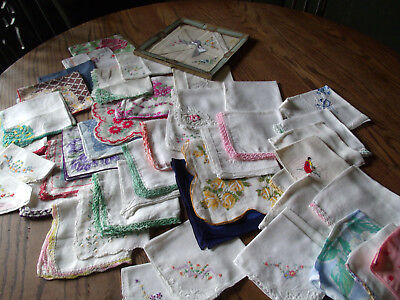 Vintage Womens Hankies Handkerchiefs-Printed, Embroidered, Crochet-Lot of 48