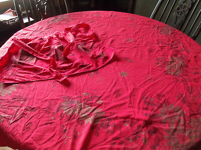 Vintage Printed Cotton Christmas Tablecloth with Matching Apron- Ornaments,Bells