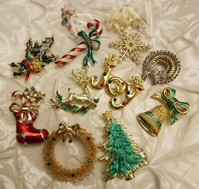 Vntg to Mod Christmas RHINESTONE Brooch PIn Earring TRADITIONAL Style Lot of 12