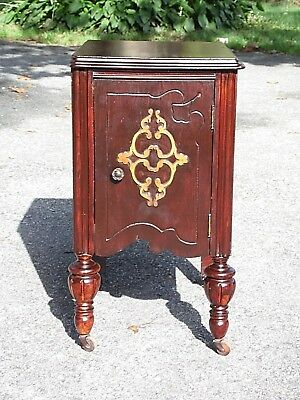 Antique Art Deco Nightstand End Table Bedroom Stand Walnut Cabinet