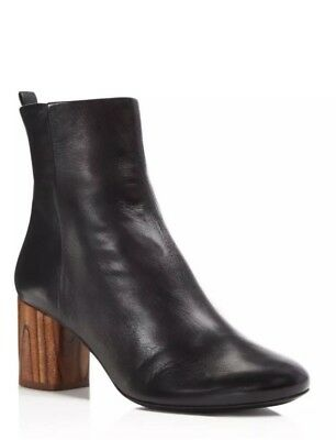 63f0a0cefc4a TORY BURCH BLACK and Wood Brown Raya Heel Boots Leather Booties Size ...