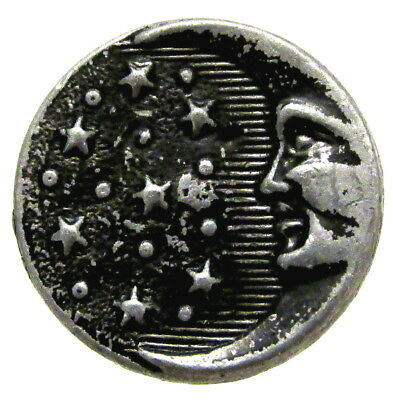 Wonderful Victorian Pewter Man In The Moon Button C147