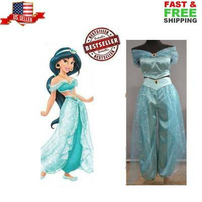Adult Aladdin Lamp Jasmine Princess Halloween Costume Pant  Dress Party Cosplay