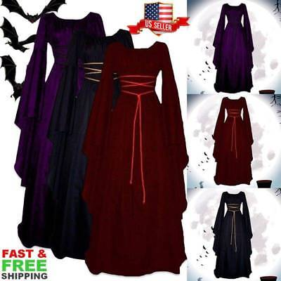 Halloween Womens Retro Vintage Renaissance Gothic Costume Medieval Gown Dress US