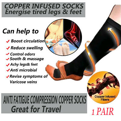 Copper Compression Socks 20-30mmHg Graduated Support Mens Womens S-XXL Pair HOT