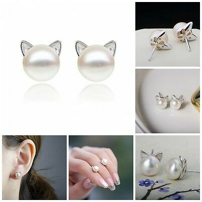 Cute Cat Stud Sterling Silver Earrings Freshwater Cultured Pearl Ear Studs White