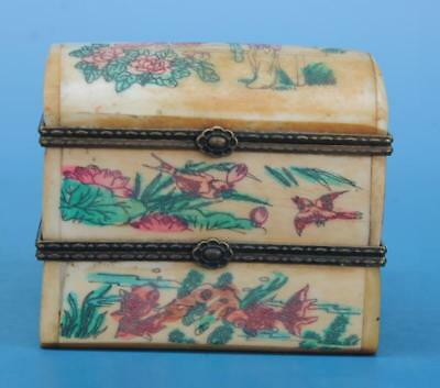 Old Chinese hand-carved horn carving rouge box c01
