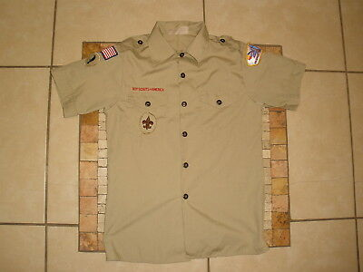 Youth Boys BSA Boy Scouts of America Khaki SS Shirt USA MADE Large 14-16