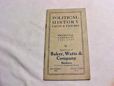 1924 POLITICAL HISTORY Facts & Figuires PRESIDENTIAL CAMPAIGNS 1789-1824 MD & DC