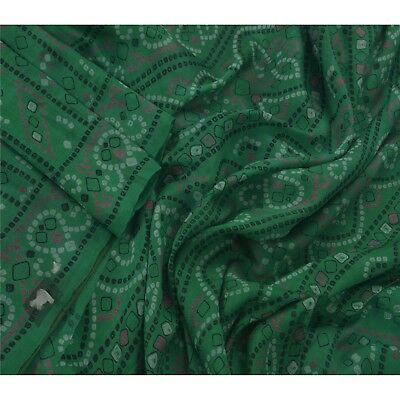 Sanskriti Vintage Green Saree 100% Pure Silk Printed Sari Craft 5 Yard Fabric
