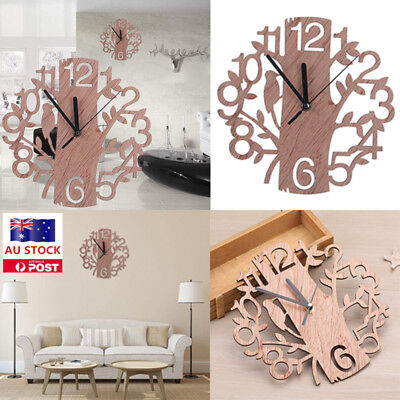 Tree and Bird Hollow Wooden Wall Clock Vintage Rustic Home Office Decor Gifts