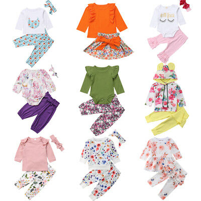 US Cute Newborn Kid Baby Girls Flowers Top Romper Skirt Pants Outfit Clothes Lot