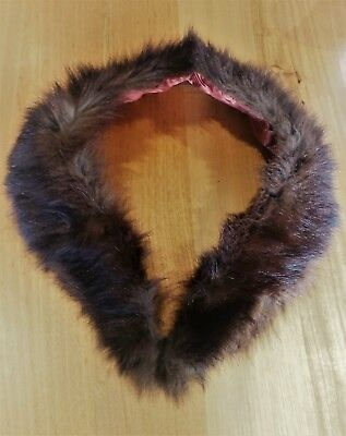 Vintage Genuine Dark Brown Fur Coat Collar Stole Scarf