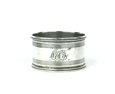 Early 20th C. Sterling Silver Napkin Ring Engine Turned Beaded Rim 1922