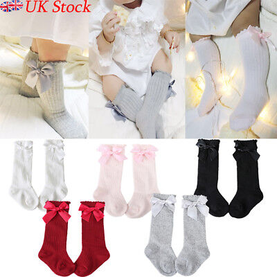 UK Baby Kids Girls Spanish Knee High Socks Bow Toddlers Party School Stockings