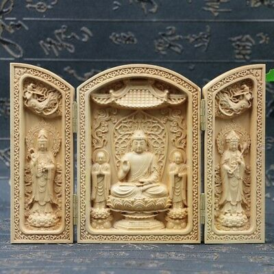 Chinese Boxwood Handmade Carved Three Saints Of The West Open Box