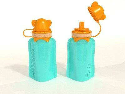 NEW My Squeeze 170mL Reusable Food Pouch - Orange Lid Aqua Body