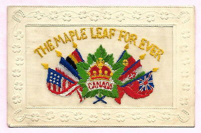 Embroidered Postcard The Maple Leaf Forever Canada