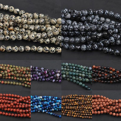 HOT! Natural Gemstone Round Spacer Loose Beads Assorted Stones 4MM 6MM 8MM 10MM