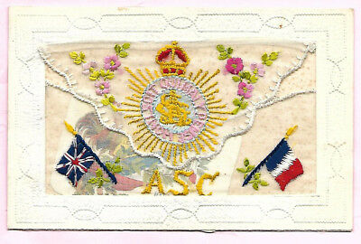 Embroidered Postcard A S C with Pocket and Insert