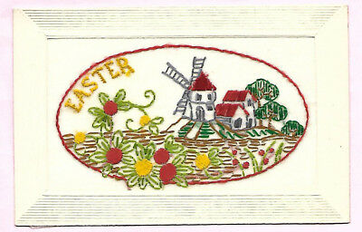 Embroidered Postcard Easter with Windmill